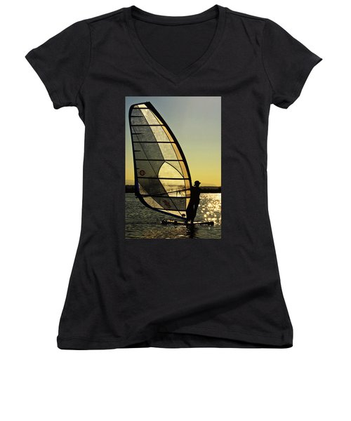 Women's V-Neck T-Shirt (Junior Cut) featuring the photograph Kiteboarder Sunset by Sonya Lang