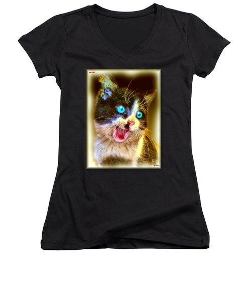 Women's V-Neck T-Shirt (Junior Cut) featuring the painting Kitten by Daniel Janda