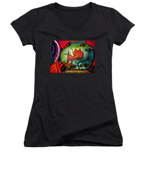 Kitty In A Fish Bowl - Abstract Cat Women's V-Neck T-Shirt
