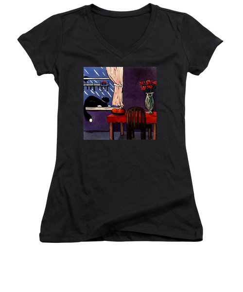 Women's V-Neck T-Shirt (Junior Cut) featuring the painting Kitty Over Manhattan by Lance Headlee