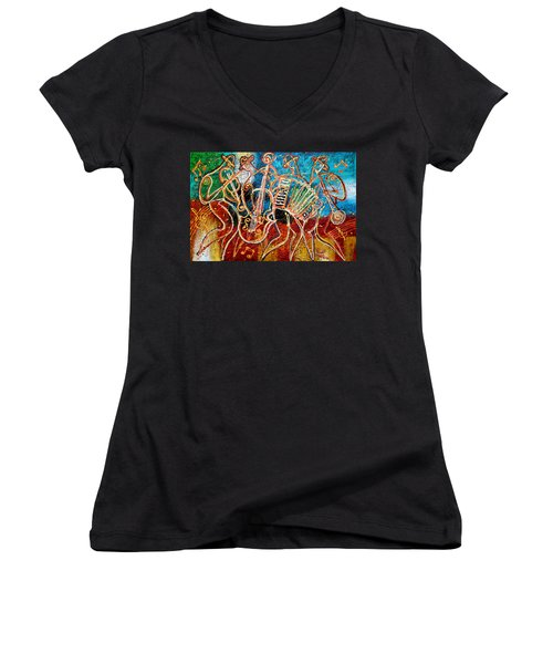 Klezmer Music Band Women's V-Neck (Athletic Fit)