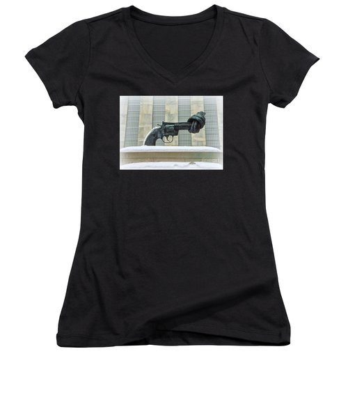 Knotted Gun Sculpture At The United Nations Women's V-Neck (Athletic Fit)