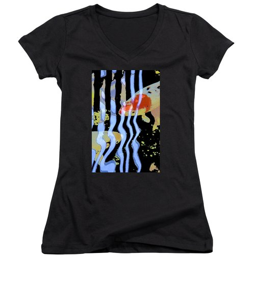 Koi 20 Women's V-Neck T-Shirt (Junior Cut) by Pamela Cooper