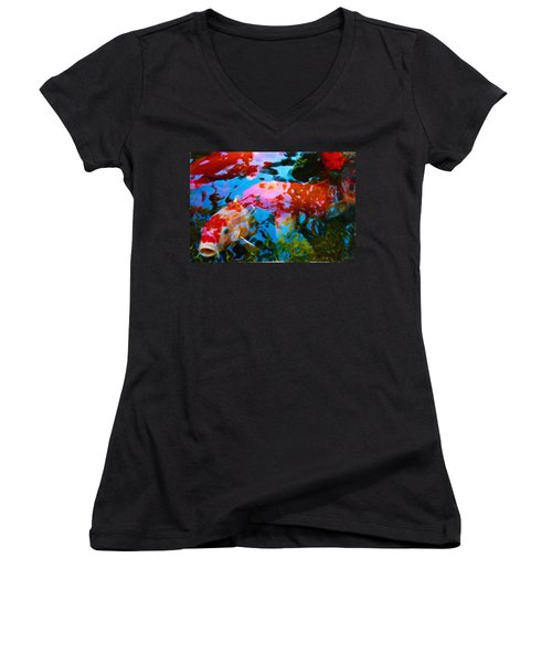 Koi Fish Women's V-Neck T-Shirt (Junior Cut) by Joan Reese