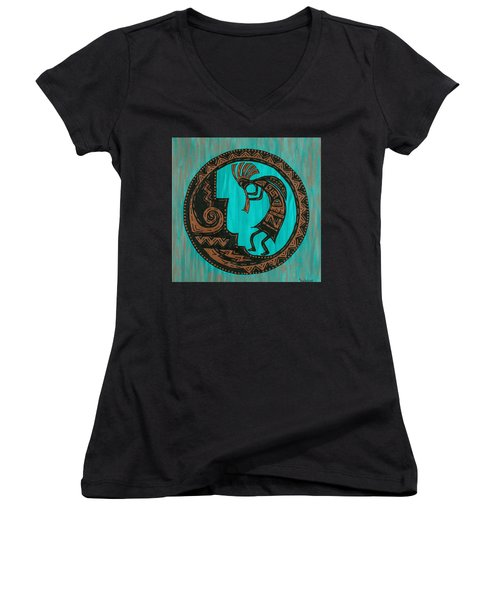 Women's V-Neck T-Shirt (Junior Cut) featuring the painting Kokopelli by Susie WEBER