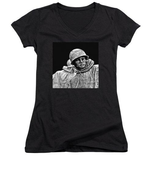 Women's V-Neck T-Shirt (Junior Cut) featuring the painting Korean War Veterans Memorial by Bob and Nadine Johnston