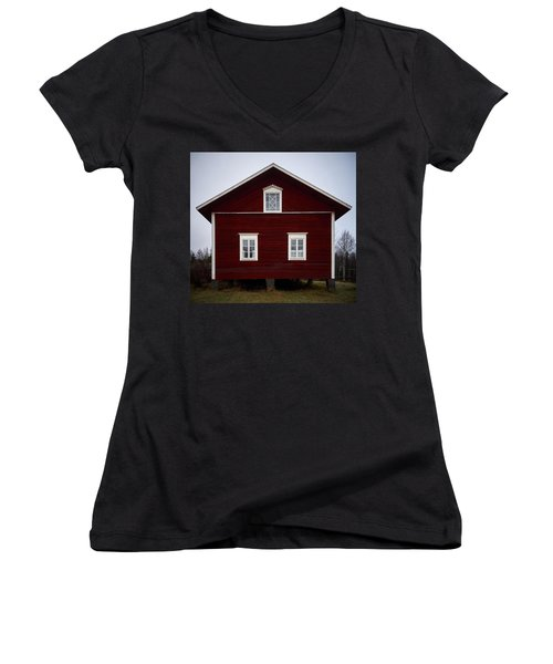 Kovero Main House Women's V-Neck T-Shirt (Junior Cut) by Jouko Lehto
