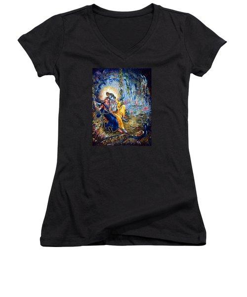 Krishna Leela Women's V-Neck T-Shirt (Junior Cut) by Harsh Malik