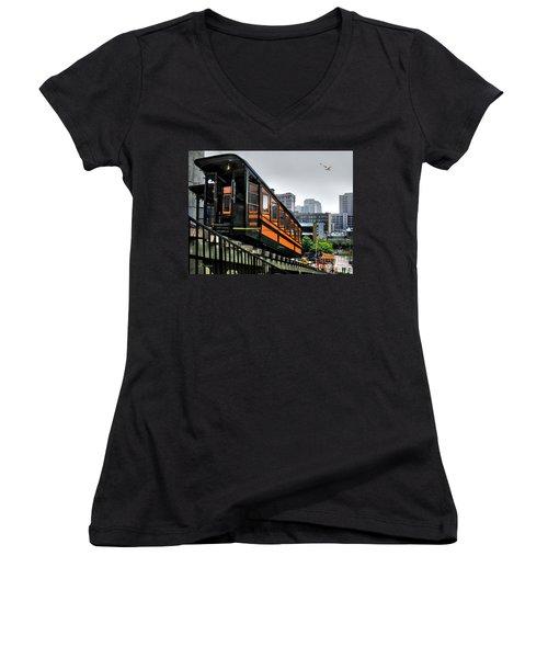 Los Angeles Angels Flight Women's V-Neck T-Shirt (Junior Cut) by Jennie Breeze