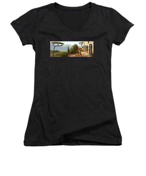 La Bella Terrazza Women's V-Neck T-Shirt (Junior Cut) by Larry Cirigliano