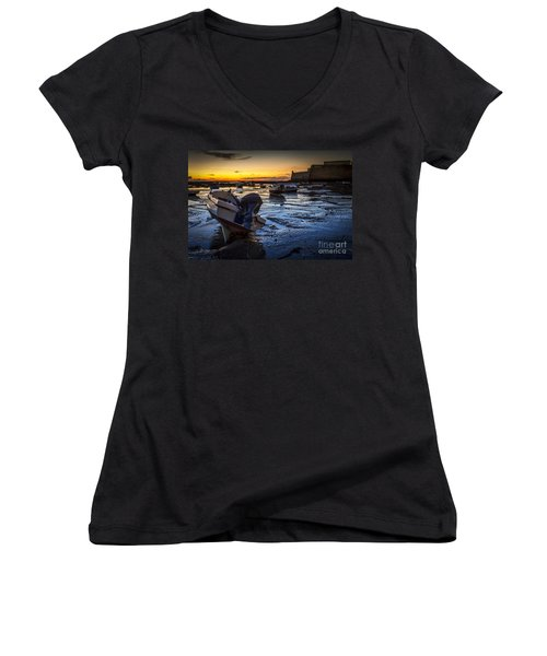 La Caleta Beach Cadiz Spain Women's V-Neck (Athletic Fit)