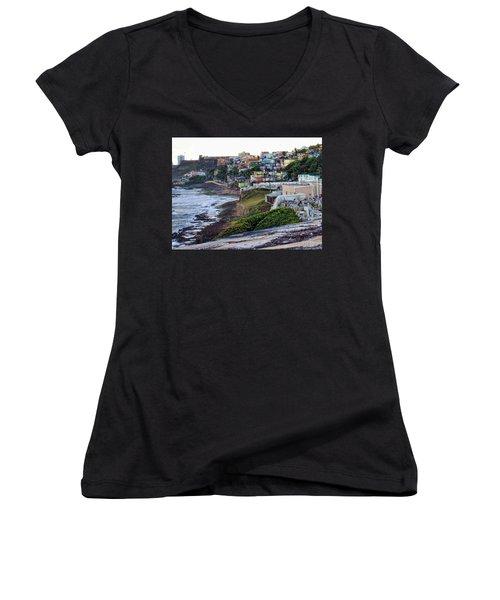 Women's V-Neck T-Shirt (Junior Cut) featuring the photograph La Perla by Daniel Sheldon