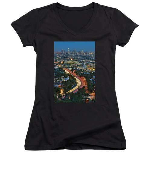 La Skyline Night Magic Hour Dusk Streaking Tail Lights Freeway Women's V-Neck (Athletic Fit)