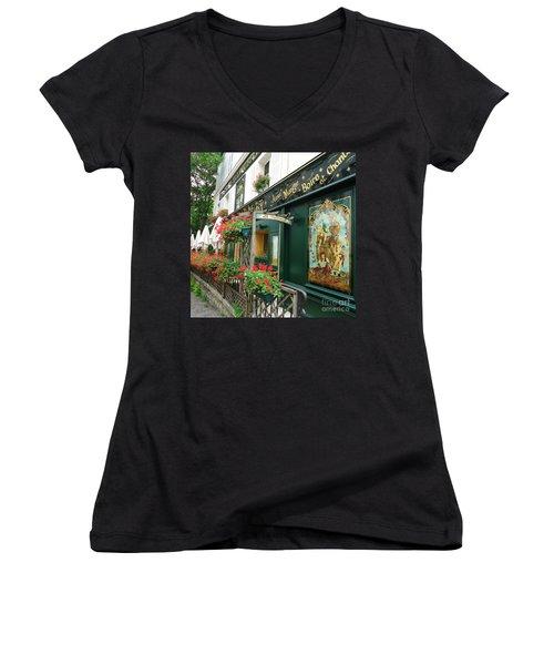 La Terrasse In Montmartre Women's V-Neck T-Shirt (Junior Cut) by Barbie Corbett-Newmin