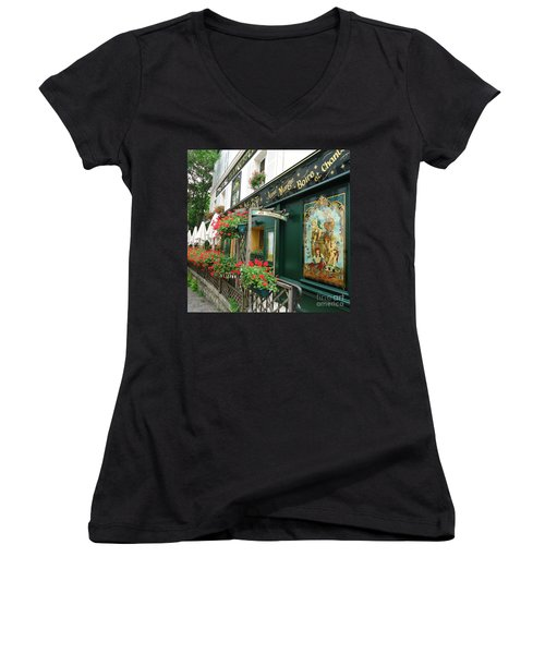 La Terrasse In Montmartre Women's V-Neck (Athletic Fit)