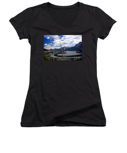 Lac Des Arcs Fractal Women's V-Neck (Athletic Fit)