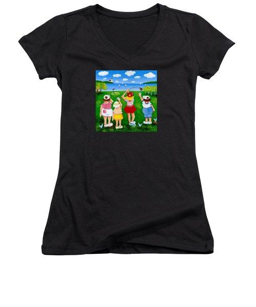 Ladies League Door County Women's V-Neck T-Shirt (Junior Cut) by Pat Olson
