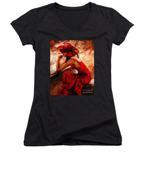Lady In Red 21 Women's V-Neck T-Shirt (Junior Cut) by Emerico Imre Toth