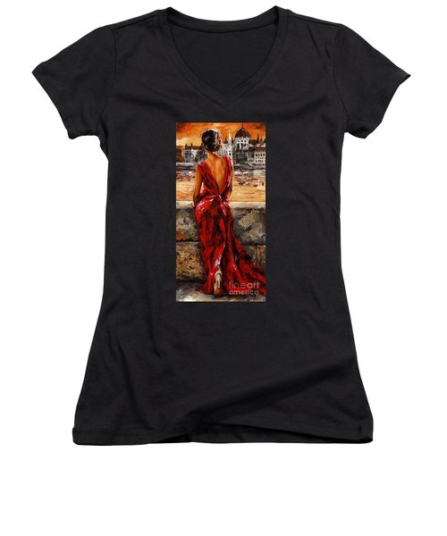 Lady In Red  34 -  I Love Budapest Women's V-Neck T-Shirt (Junior Cut) by Emerico Imre Toth