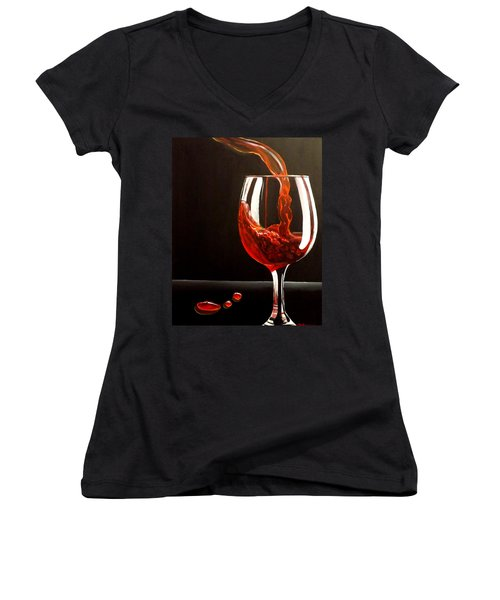 Women's V-Neck T-Shirt (Junior Cut) featuring the painting Lady In Red by Darren Robinson