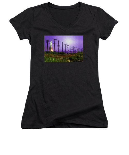 Lady Liberty Lost Women's V-Neck T-Shirt (Junior Cut) by RC deWinter