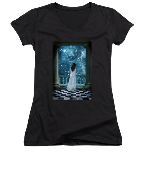 Lady On Balcony At Night Women's V-Neck (Athletic Fit)