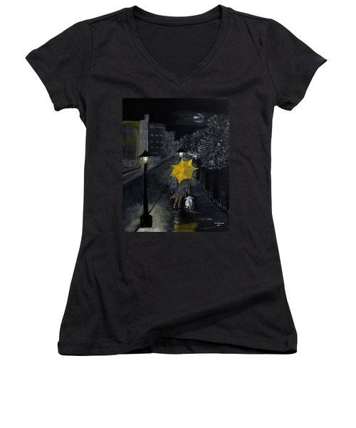 Lady With Yellow Umbrella And White Dog Women's V-Neck T-Shirt