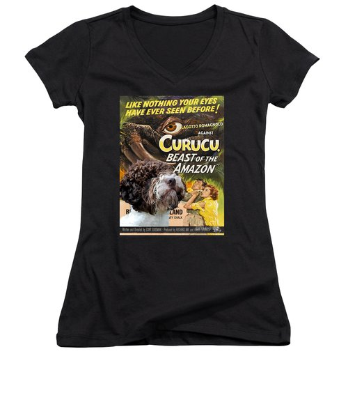 Lagotto Romagnolo Art Canvas Print - Curucu Movie Poster Women's V-Neck (Athletic Fit)