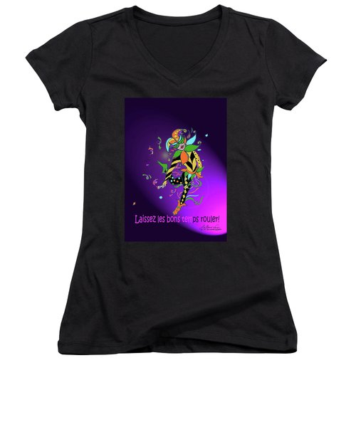 Laissez Les Bon Temps Rouler Women's V-Neck (Athletic Fit)