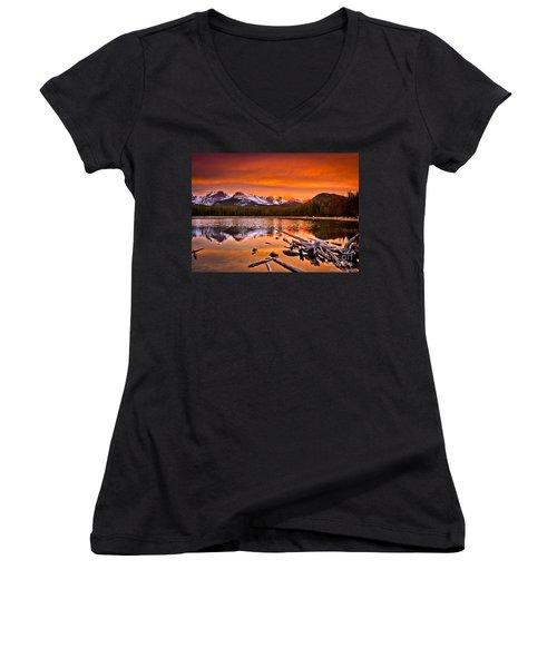Lake Bierstadt In The Morn Women's V-Neck T-Shirt (Junior Cut) by Steven Reed