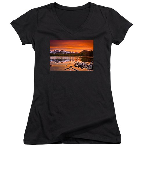 Lake Bierstadt In The Morn Women's V-Neck (Athletic Fit)
