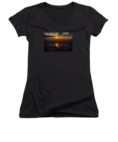 Lake Norman Sunrise Women's V-Neck T-Shirt (Junior Cut) by Greg Reed