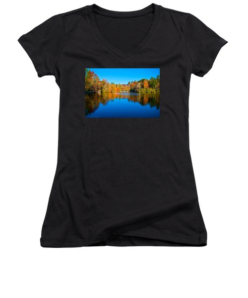 Women's V-Neck T-Shirt (Junior Cut) featuring the photograph Lake Reflections by Alex Grichenko