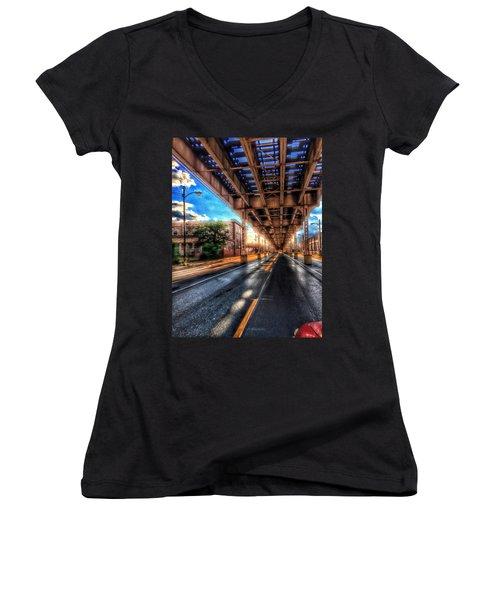 Lake Street El Tracks Women's V-Neck (Athletic Fit)