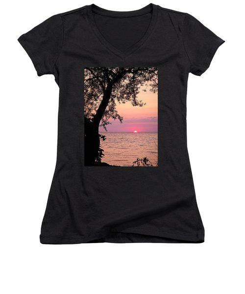 Lake Sunset Women's V-Neck T-Shirt