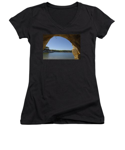 Lake Texoma Eisenhower State Park  Texas Women's V-Neck T-Shirt (Junior Cut) by Charles Beeler