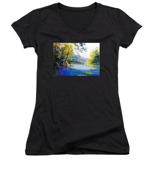 Lake View 2  Women's V-Neck T-Shirt