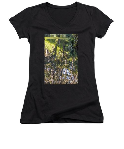 Women's V-Neck T-Shirt (Junior Cut) featuring the photograph Lakeshore Reflections by Kate Brown
