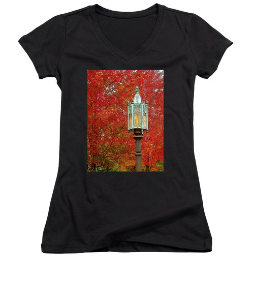 Lamp Post In Fall Women's V-Neck