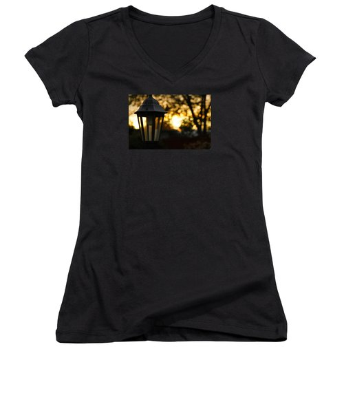 Women's V-Neck T-Shirt (Junior Cut) featuring the photograph Lamplight by Photographic Arts And Design Studio