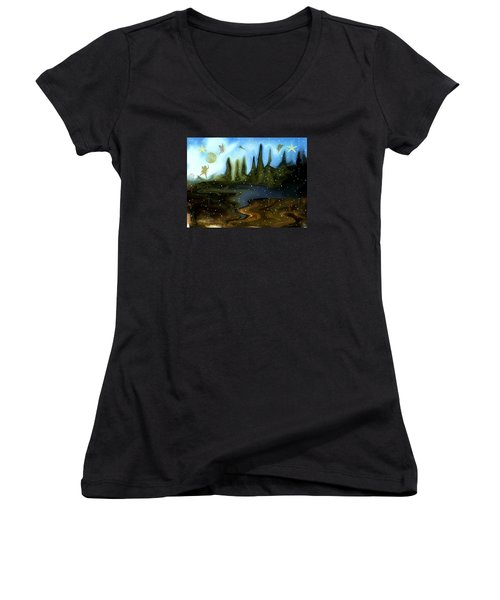 Women's V-Neck T-Shirt (Junior Cut) featuring the painting Land Of The Fairies  For Kids by Sherri  Of Palm Springs