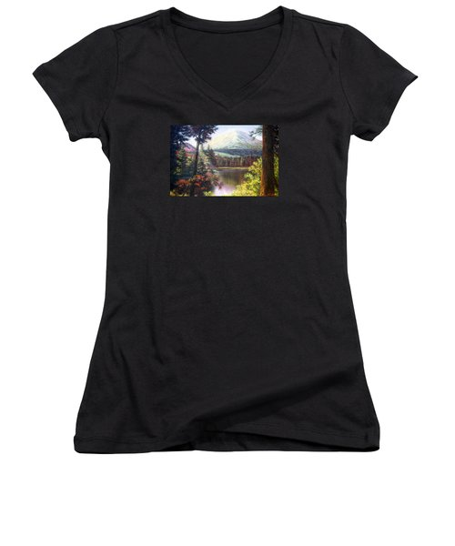 Landscape-lake And Trees Women's V-Neck T-Shirt (Junior Cut) by Loxi Sibley