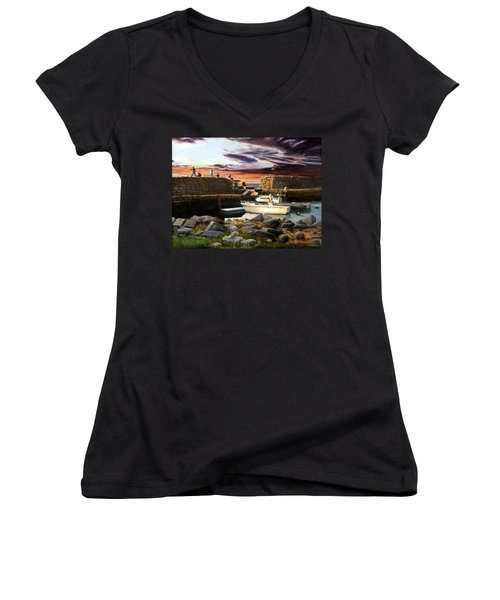 Lanes Cove Gloucester Women's V-Neck T-Shirt (Junior Cut) by Eileen Patten Oliver