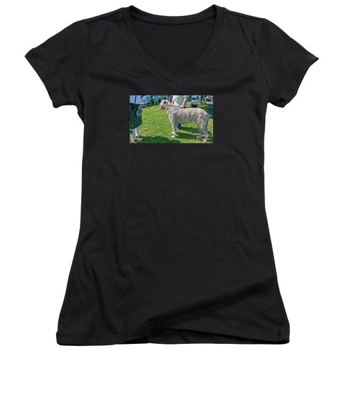 Large Irish Wolfhound Dog  Women's V-Neck T-Shirt (Junior Cut) by Valerie Garner