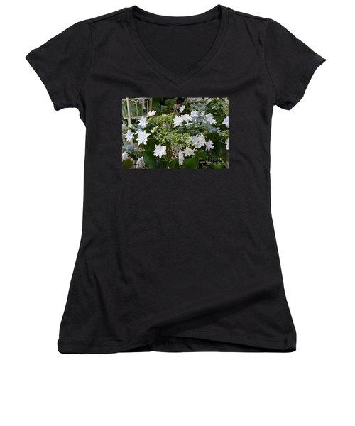 Women's V-Neck T-Shirt (Junior Cut) featuring the photograph Shooting Star Bouquet by Jeannie Rhode