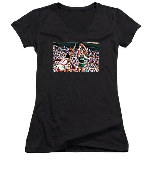 Larry Bird Women's V-Neck T-Shirt (Junior Cut) by Florian Rodarte
