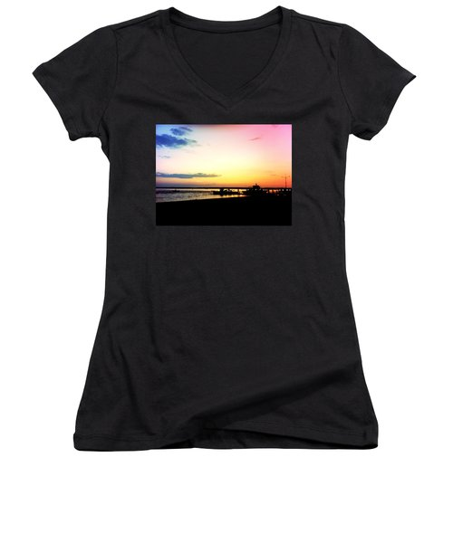 Women's V-Neck T-Shirt (Junior Cut) featuring the photograph Last Light by Denyse Duhaime