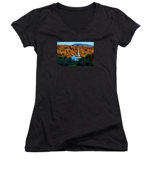 Last Rays Of Autumn Sun On Stowe Church Women's V-Neck T-Shirt (Junior Cut) by Jeff Folger