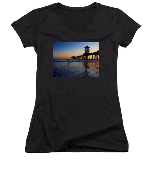 Women's V-Neck T-Shirt (Junior Cut) featuring the photograph Last Wave by Tammy Espino