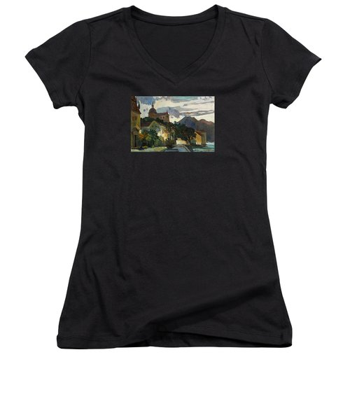 Late Evening In The Prcanj Women's V-Neck T-Shirt